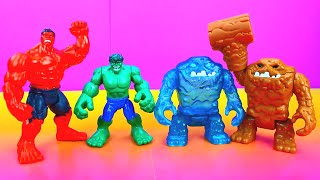 getlinkyoutube.com-Hulk & brother Bob fight Imaginext Clay Face & Ice Face in tag team all star wrestling