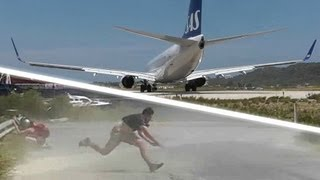 getlinkyoutube.com-JET BLAST throws person on the ground! SAS 737 at the Second St Maarten! Skiathos 737 Takeoff!