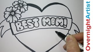 getlinkyoutube.com-Draw Best Mom - How To Draw Best Mom -Graffiti Bubble letters -  Mothers Day, Birthday,