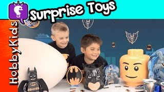 getlinkyoutube.com-BEST Batman Lego Party SECRET Surprise! Giant Egg + Giant Lego Head Dimensions Game HobbyKidsTV