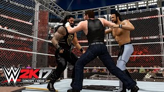 getlinkyoutube.com-WWE 2K17 Ambrose Asylum Steel Cage Match (Concept/Idea)