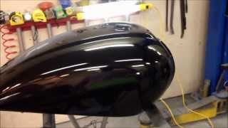 getlinkyoutube.com-Finishing a paint job on motorcycle a gas tank at the UGG, sanding and detail work