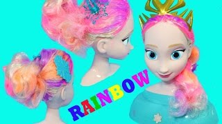 getlinkyoutube.com-FROZEN Elsa RAINBOW Hair Styling Head Disney Princess Queen Elsa Dyed Rainbow Hair Learn Colors