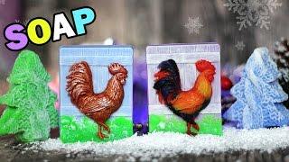 getlinkyoutube.com-DIY: Soap ● Новогоднее МЫЛО Яркий ПЕТУШОК ● Мастер-класс ● Мыловарение