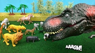 getlinkyoutube.com-Dinosaur Puppet Toy Attack At The Zoo! Giant Tyrannosaurus Rex Attack Zoo Animals!