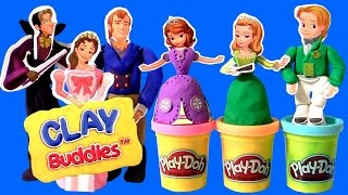 getlinkyoutube.com-Play Doh Sofia the First Clay Buddies Royal Family Activity Princess Amber & Prince James Dough set