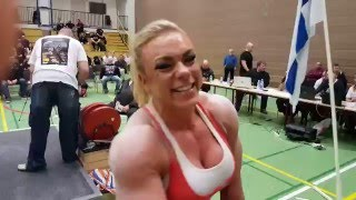 getlinkyoutube.com-Minna Pajulahti Raw Bench Press 123kg World Record