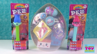Shopkins Giant Surprise Egg #24 Opening BFFS Disney Trolls Pez Sushi Cars | PSToyReviews