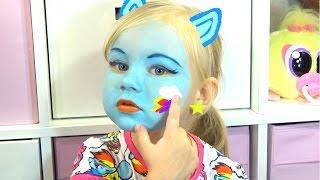 getlinkyoutube.com-Алиса РЕЙНБОУ ДЭШ макияж аквагрим и играем RAINBOW DASH face painting for kids entertainment