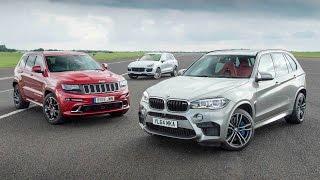getlinkyoutube.com-Jeep Grand Cherokee SRT vs Porsche Cayenne Turbo S vs BMW X5 M - performance SUV drag race