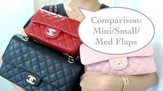 getlinkyoutube.com-Mini, Small, M/L Chanel flap bag comparison