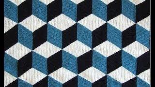 getlinkyoutube.com-How to crochet 3D blanket afghan or rug free pattern tutorial seminario del modelo libre l