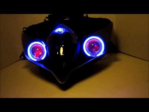 #1 Suzuki GSXR 600 750 2008 - 2010 HID Projector Headlights BiXenon Angel Eyes Halo By BKmoto.com
