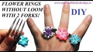 getlinkyoutube.com-How to make a Flower Ring (EASY) with 2 forks. Without rainbow loom. rubber bands flower ring