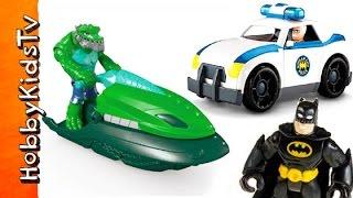 getlinkyoutube.com-Police Car Chases K.Croc Swamp Ski! Batman + Commissioner Gordon Imgaginext Fisher-Price HobbyKidsTV
