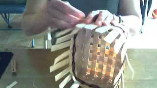 getlinkyoutube.com-Basket Weaving Video #8--Spllicing Reed and Finishing the Rim Row
