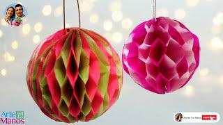 getlinkyoutube.com-Festón en papelillo, Esferas en Papel Seda - Spheres in tissue paper - step by step