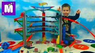 getlinkyoutube.com-ХотВилс гараж с трассами и машинками распаковка игрушки Hot Wheels Ultimate Garage unboxing and play