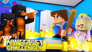 Minecraft FAMILY FIGHT TO THE DEATH w/ Little Donny, Donut, Baby Leah & Baby Max!! Hypixel Bed Wars!