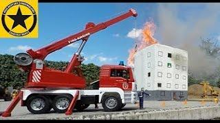 getlinkyoutube.com-TOY TRUCKS BRUDER FIRE Engines CRANE in Jack's WORLD real fire!