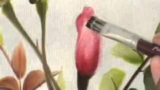 getlinkyoutube.com-Pintura em tela para iniciantes - como pintar rosas e folhas completo