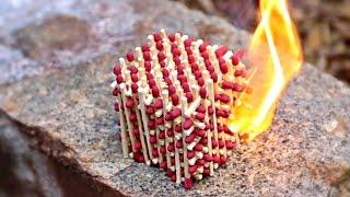 getlinkyoutube.com-What Happens if You Set Match Cube on Fire