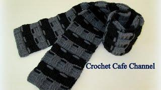 getlinkyoutube.com-كروشيه كوفية رجالي بغرزة الباسكيت - #كروشيه_كافيه# Crochet Cafe