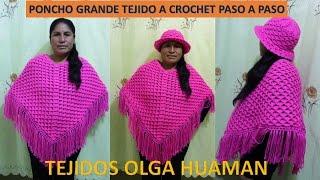 getlinkyoutube.com-Poncho grande tejido a crochet paso a paso - TEJIDOS OLGA HUAMAN