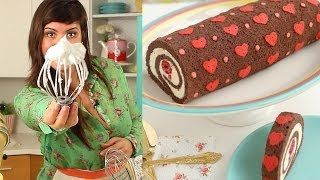 getlinkyoutube.com-How to Make Heart Cake Roll-Chocolate Cake Roll filled with Whipped Ganache Recipe