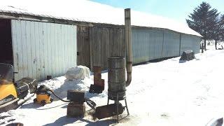 getlinkyoutube.com-Dads Homebuilt Waste Oil Burner First Fire Up