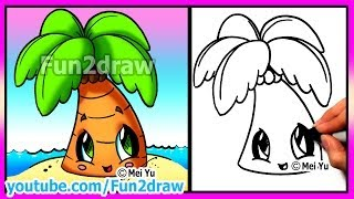 getlinkyoutube.com-How to Draw Summer Cartoons - Cute Easy Beach Palm Tree - Fun2draw drawings