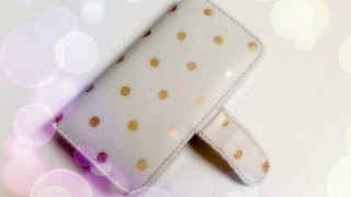 getlinkyoutube.com-DIY Gold Polka Dotted wallet phone case using Nail Polish - Natalie's Creations