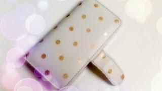 DIY Gold Polka Dotted wallet phone case using Nail Polish - Natalie's Creations