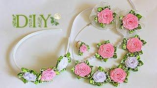 """getlinkyoutube.com-Набор """"Belle"""" для малышки   Цветы из Лент   KANZASHI   DIY"""