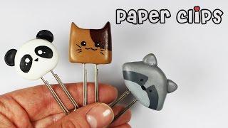 getlinkyoutube.com-polymer clay Kawaii Paper Clips (panda cat raccoon) TUTORIAL