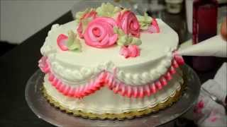 getlinkyoutube.com-Basic Rose Swirl Cake With Whipped cream frosting Tutorial video