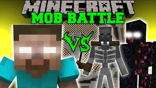 getlinkyoutube.com-HEROBRINE VS MUTANT SKELETON & MUTANT OBSIDIAN GOLEM - Minecraft Mob Battles - Minecraft Mods