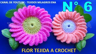 getlinkyoutube.com-Flor margarita tejida a ganchillo # 6 paso a paso fácil de tejer