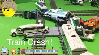 getlinkyoutube.com-Lego 9v Train Crashes into a Limo & Star Wars Stormtrooper!