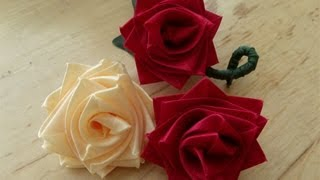 getlinkyoutube.com-How to make a rose flower with ribbon, boutineer or corsage for Mother's day