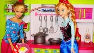 getlinkyoutube.com-Barbie Chef I can be Kitchen toyset  Disney Frozen Princess Anna Doll, Barbie cocina Princesa Anna