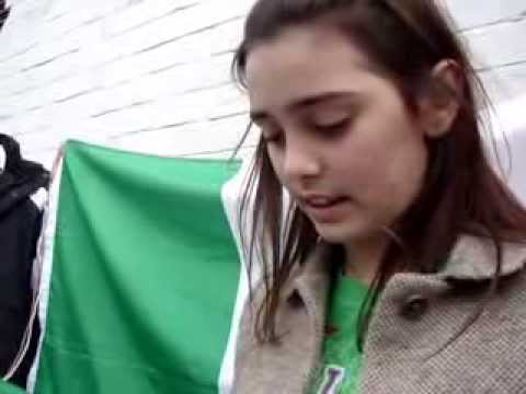 Irish Palestinian Girl reads The Irish Proclamation, St. Patrick's Day, 17th March 2014, Dublin