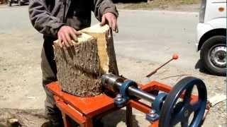 getlinkyoutube.com-【ねじ式薪割機・コーンスプリッタ】エンジン試作機2/2【試し割り】[Cone Splitter],[Log Splitter],[Screw],[Unicorn],[Prototype]
