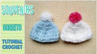 getlinkyoutube.com-Souvenir a crochet para baby shower MINI GORRITO, paso a paso