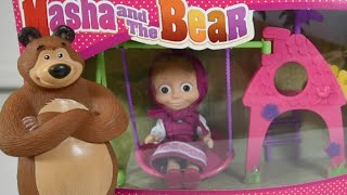 getlinkyoutube.com-Masha and the Bear Toys Swing and Slide Play set and Playing with Play Doh