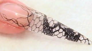 getlinkyoutube.com-Encapsulated Lace Netting Stiletto Acrylic Nail Tutorial Video by Naio Nails