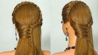 getlinkyoutube.com-Прическа с плетением на каждый день. Braided hairstyle for every day