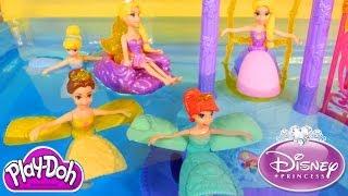 getlinkyoutube.com-NEW Disney Princess Water Palace Playset Ariel Cinderella Belle Rapunzel Petal Float PLAY-DOH Fun!
