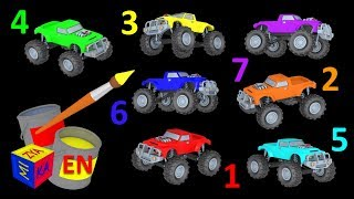 Learn colors and learn to count with mighty monster trucks. Educational cartoon for children