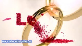 getlinkyoutube.com-Футаж LOVE из лепестков розы с обручальными кольцами